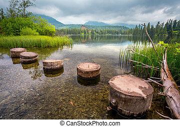 Mountain Lake in the High Tatras National Park. Strbske Pleso, Slovakia.