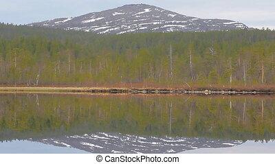 mountain lake in the polar circle