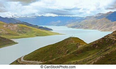 Mountain lake in Tibet. 5000 meters above sea level