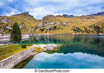Glacial lake - Mountain Lake Lago di Fedaia, Dolomites....
