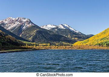 a beautiful mountain lake in fall