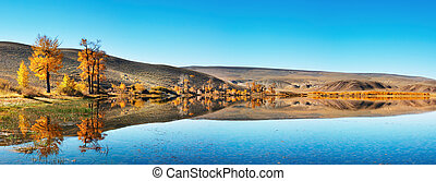 Mountain lake - Landscape with still lake and blue sky