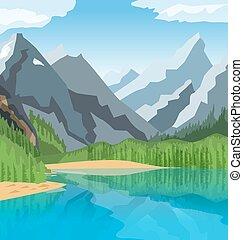 Mountain Lake - Mountain lake illustration with threes and...