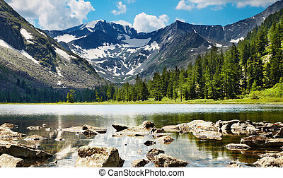 Mountain lake - Mountain landscape with lake and forest