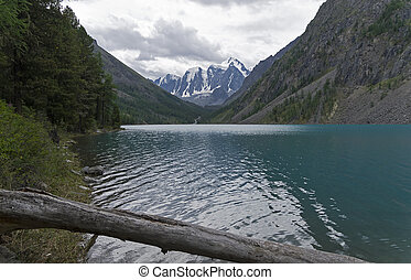 Mountain lake on a cloudy day. Altai, Russia.