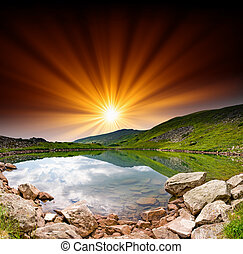 mountain lake - Majestic sunset in the mountains landscape...