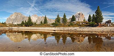 Mountain lake reflection - Lago Limedes - Italy alps