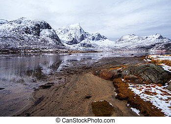 Mountain lake. Spring in the Lofoten Islands.