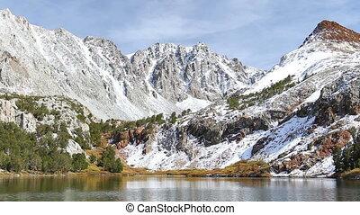 mountain lake - beautiful mountain lake, snowy peak...