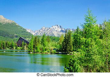 Mountain lake Strbske Pleso in National Park