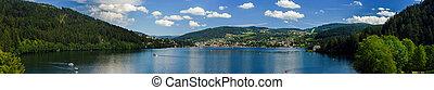 Mountain lake summer panoramic view