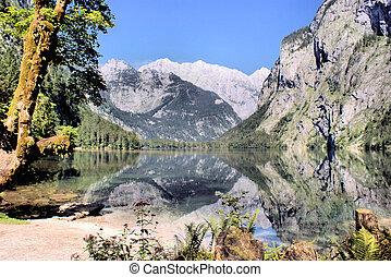 Mountain lake surround of the Alps