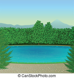 Mountain lake - The stylized landscape with blue mountain...