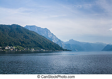 Mountain lake Traunsee in the Alps, Austria