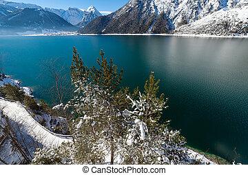Mountain lake view snow landscape in the Alps, Austria, Achensee, Tirol.