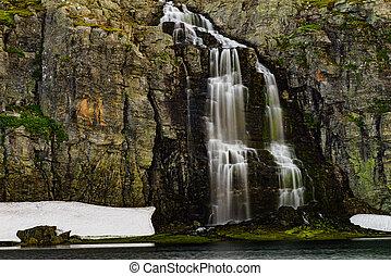 Mountain lake waterfall Flotvatnet Norway