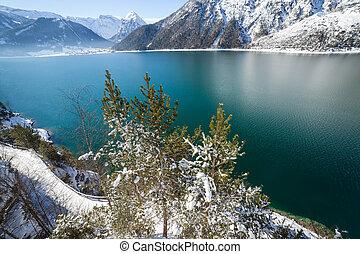 Mountain lake winter landscape, Alps, Achensee, Austria