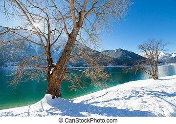 Mountain lake winter landscape, Alps, Achensee, Austria.