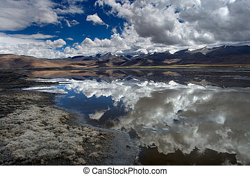 Mountain lake with a mirror surface of water, in which the sky and mountains are symmetrically reflected, in the foreground the shore, the Himalayas.