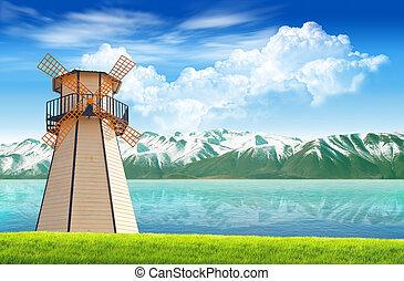 Mountain lake with old wind turbine