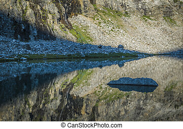 Mountain lake with rocks and reflections