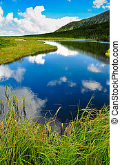 Mountain lake with sky and white clouds reflection