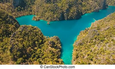 Mountain lake with turquoise water, Philippines, Palawan. -...