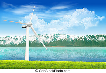 Mountain lake with wind turbine