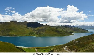 Mountain Lake Yamdrok Himalayas Tibet - Lake Yamdrok Like...