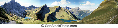 Mountain lakes in the Alps - The Tannheim Mountains in...