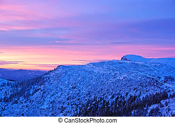 Mountain landscape at sunrise in Carpathians.