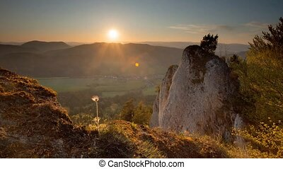 Mountain landscape at sunset, Time