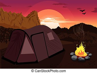 Mountain landscape at sunset with camping tent and campfire