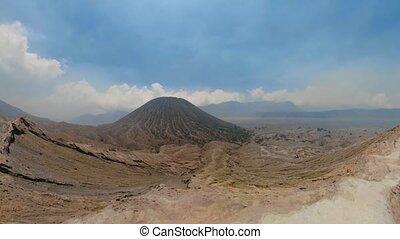 Mountain landscape volcano crater Tengger Semeru national park.