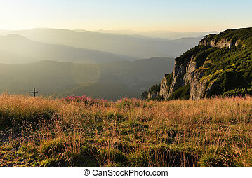 Mountain landscape. Ceahlau mountains, Eastern Carpathians, ...