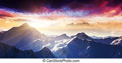 mountain landscape - Fantastic evening winter landscape. ...