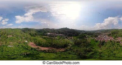 Mountain landscape farmlands and village, Indonesia. vr360 -...