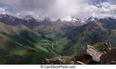 Mountain Landscape - The camera slowly zooms icy mountain...
