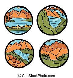 Mountain landscape icon set.