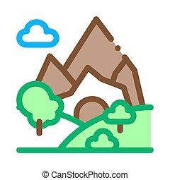 Mountain Landscape Icon Vector Outline Illustration