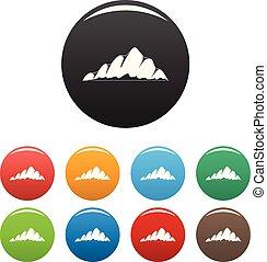 Mountain landscape icons set color vector