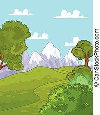Mountain landscape - Illustration of idyllic mountain...