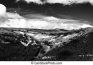 mountain landscape in black and white