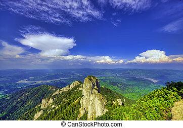 mountain landscape in Ceahlau, Romania. summer scene