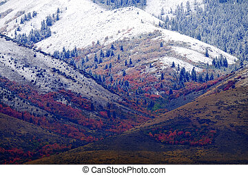 Mountain Landscape in Late Fall with Autumn Colors and First Snow