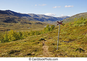 Mountain landscape in north of Sweden