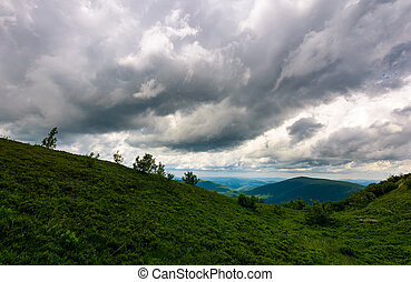 mountain landscape in rainy weather. lovely summer scenery...