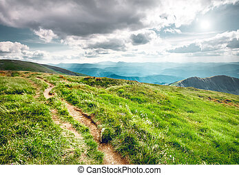 Mountain landscape in summer - Trail leading through the...
