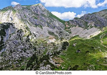 Mountain landscape in the Alps. View of the Rofan peak. Austria, Tirol.