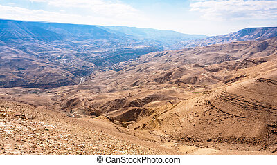 mountain landscape in valley of Wadi Mujib river - Travel to...